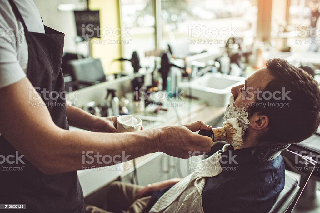Shaving time stock photo