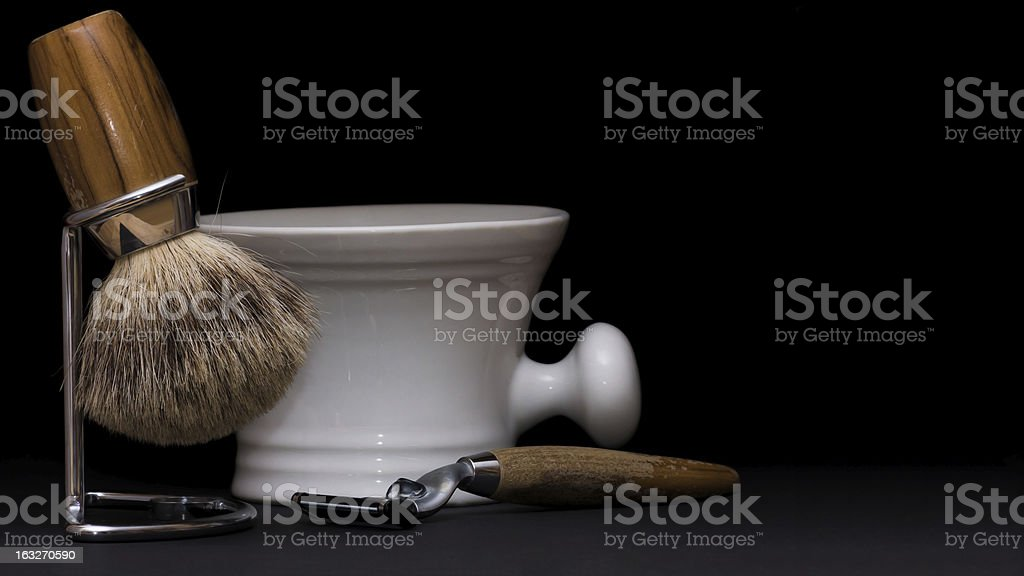 Shaving Tools on black Background stock photo