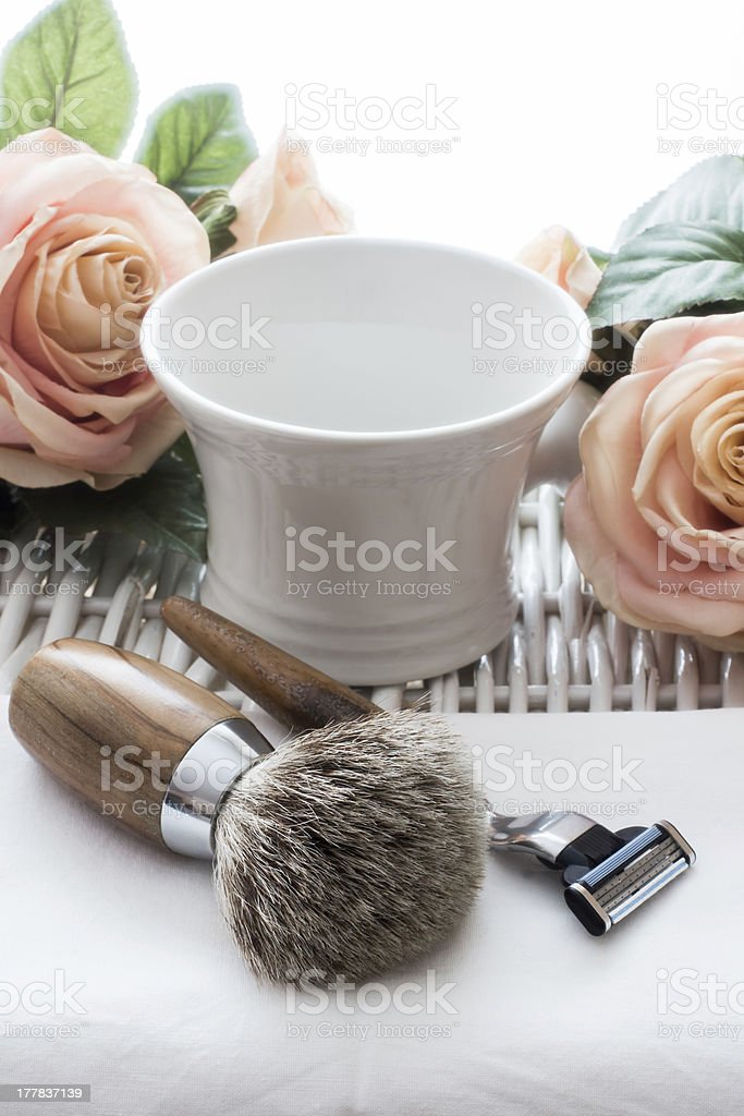 Shaving Tools with Roses stock photo