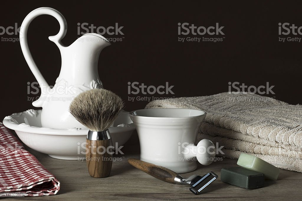 Shaving Tools with Washbasin and Towel stock photo