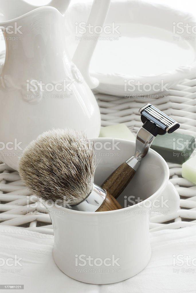 Shaving Tools with Washbasin stock photo