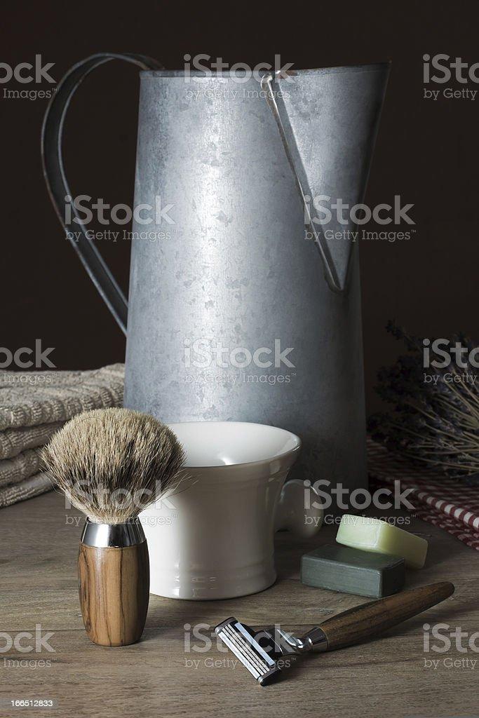 Shaving Tools with Washbasin, Towel an old Zinc Jug stock photo