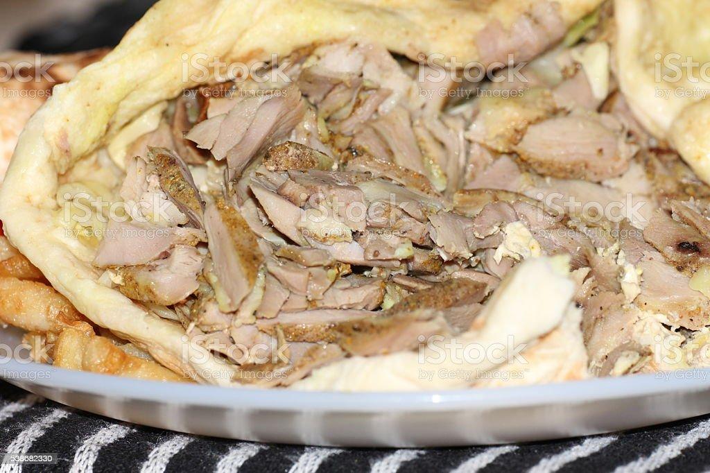Shawarma close up stock photo