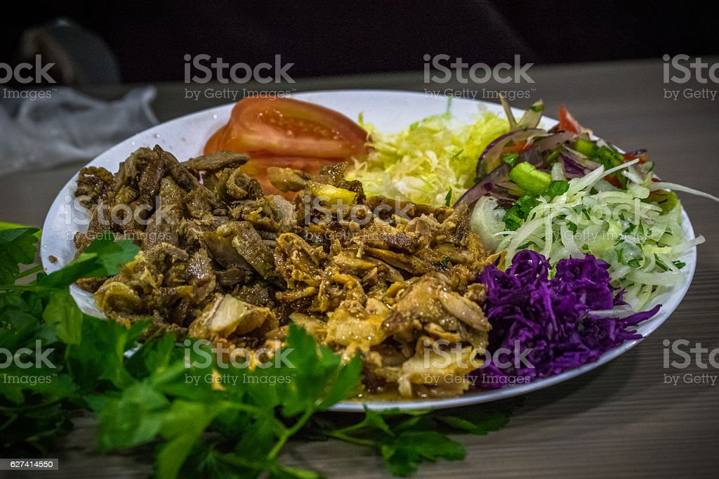 Shawarma Mix With Salad stock photo