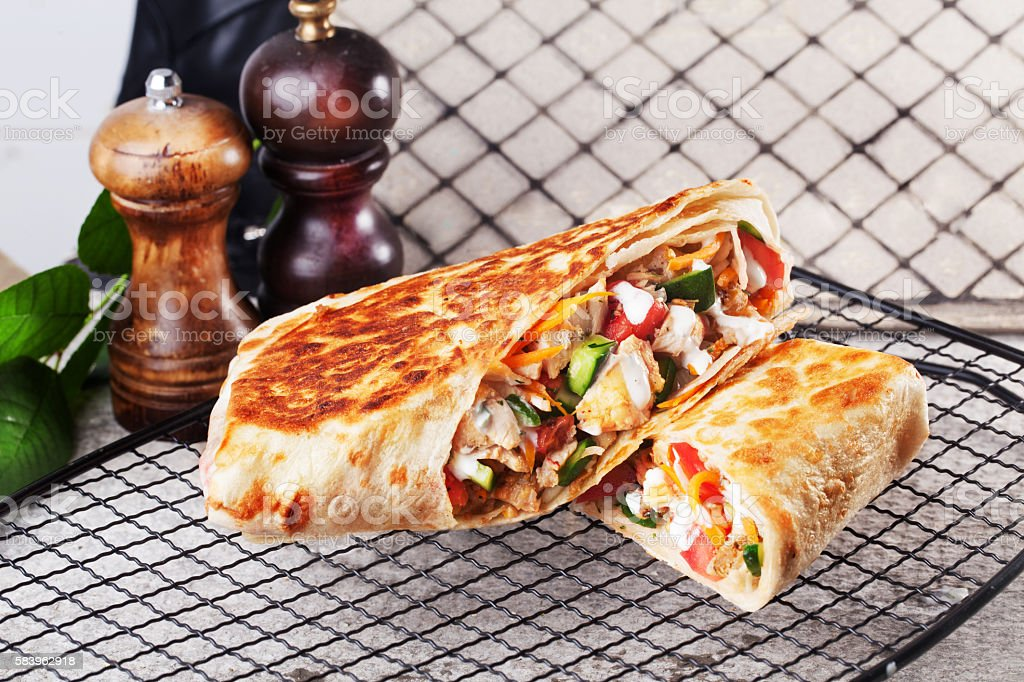 shawarma still life on a plate meat chicken stock photo