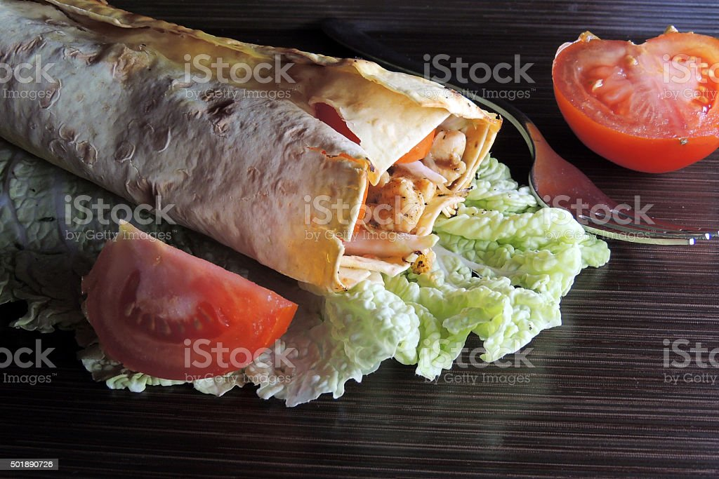 Shawarma with chicken stock photo
