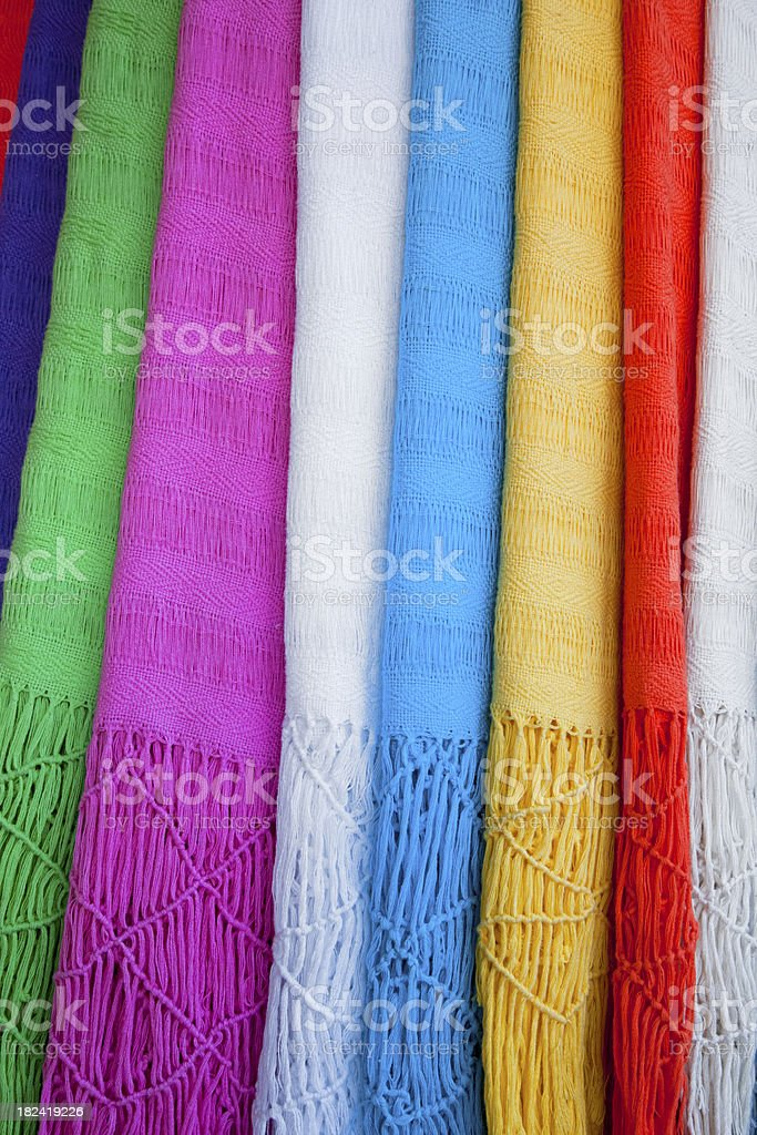 Shawls Hang in A Row, Background, Colorful Pattern, Vertical royalty-free stock photo