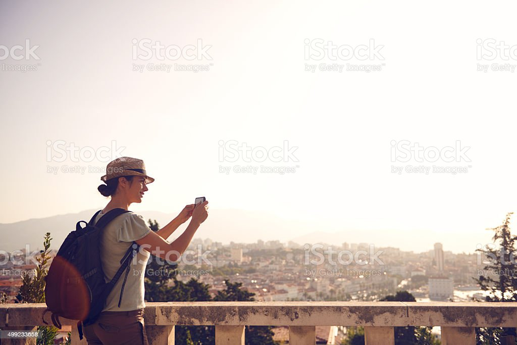 She always says yes to adventure stock photo