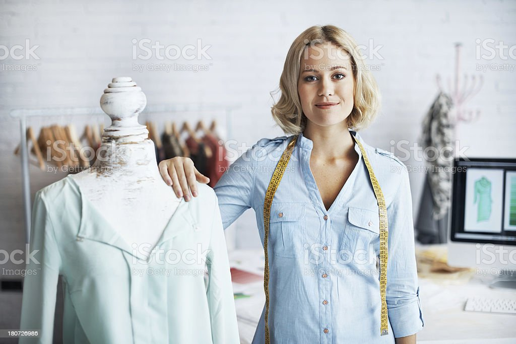 She believes in her designs royalty-free stock photo