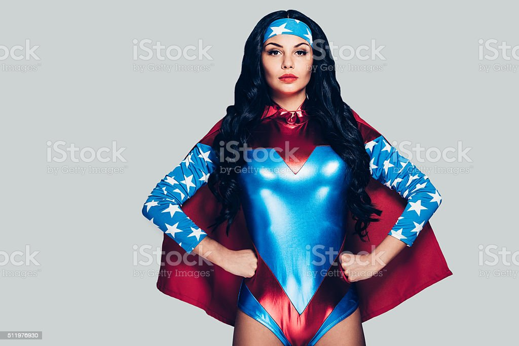 She can fight crime anywhere. stock photo
