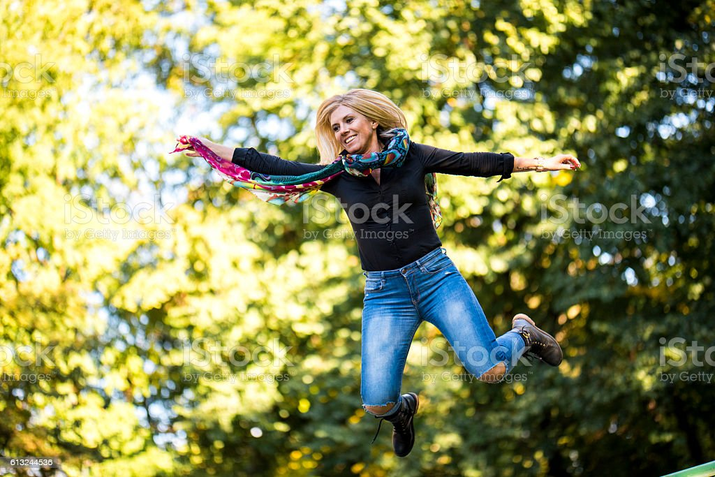She can jump so high stock photo
