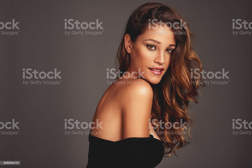 She can rock any hairstyle stock photo