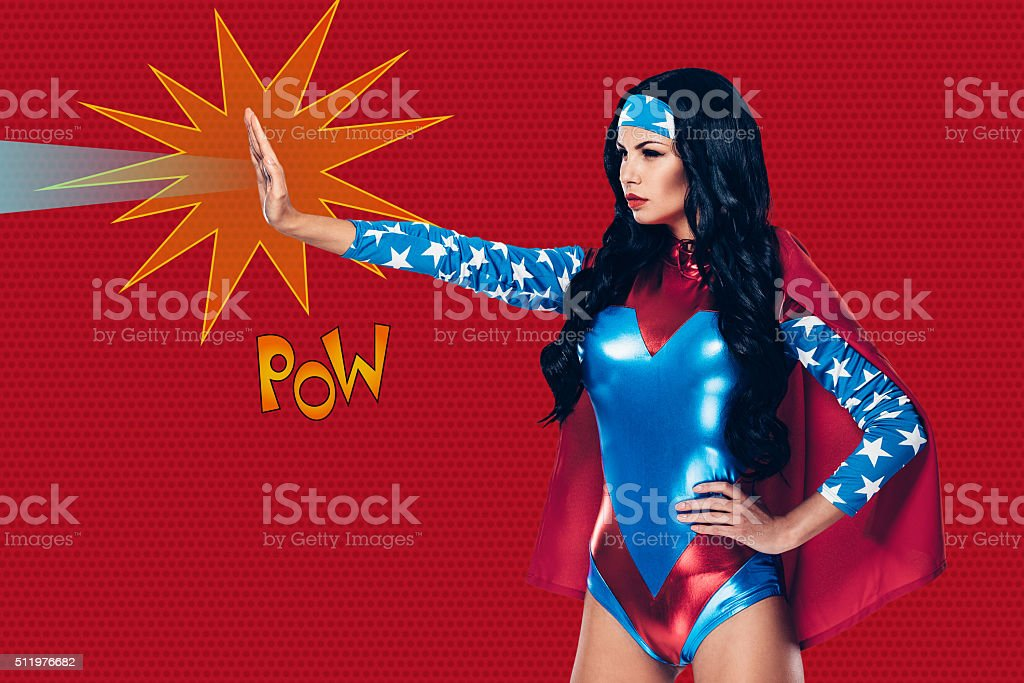 She can stop any crime. stock photo