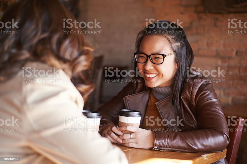 She can talk to her best friend about anything stock photo