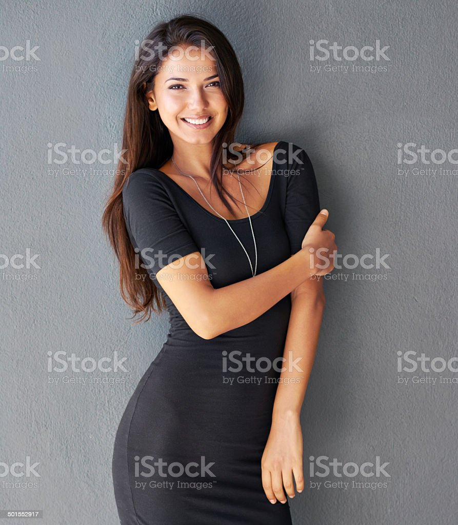 She can't wait for his arms to be around her stock photo