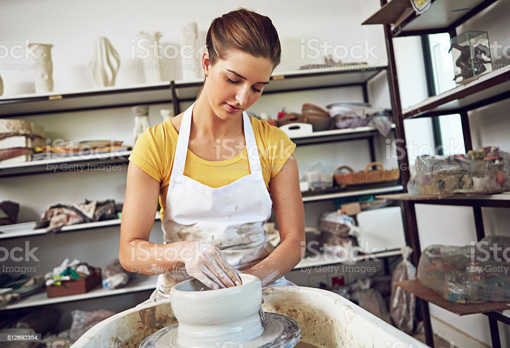 She crafted her hobby into a career stock photo