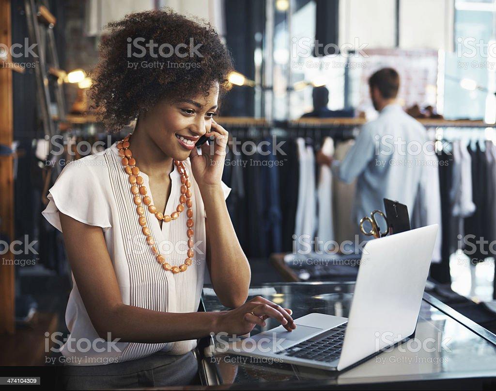 She enjoys her job stock photo