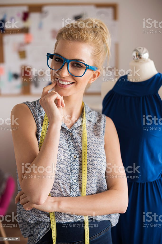 She exactly know, how do it perfect dress stock photo