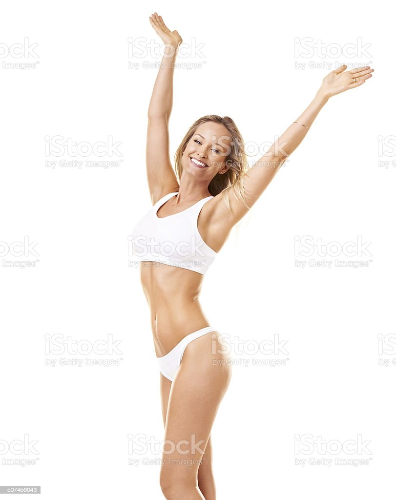 She feels free and fit in her body stock photo