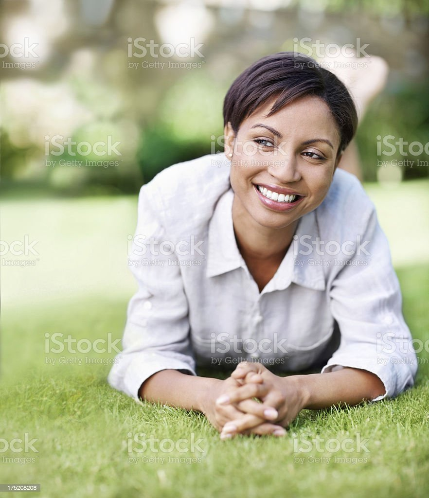 She feels positive about her future royalty-free stock photo