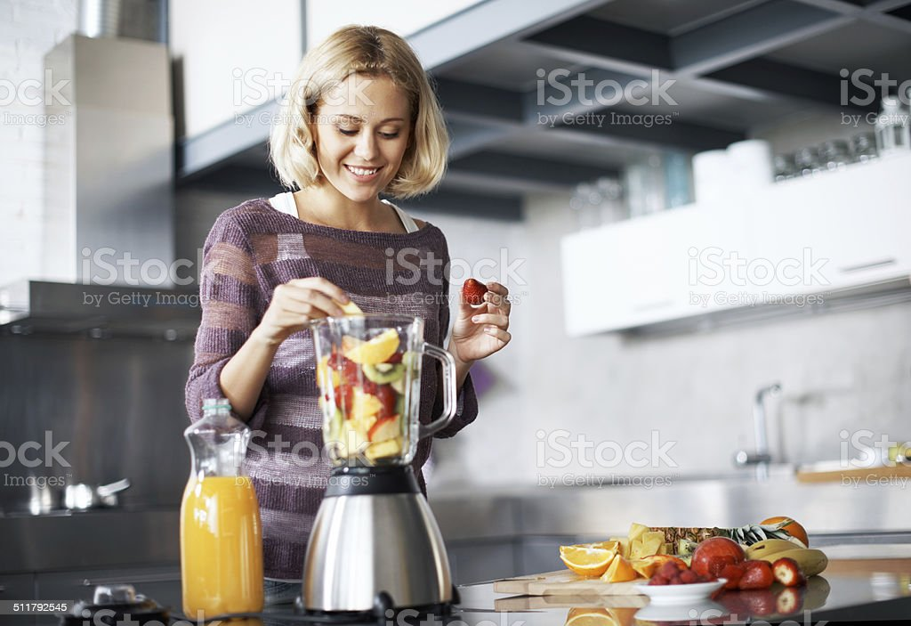 She felt like a real chef! stock photo