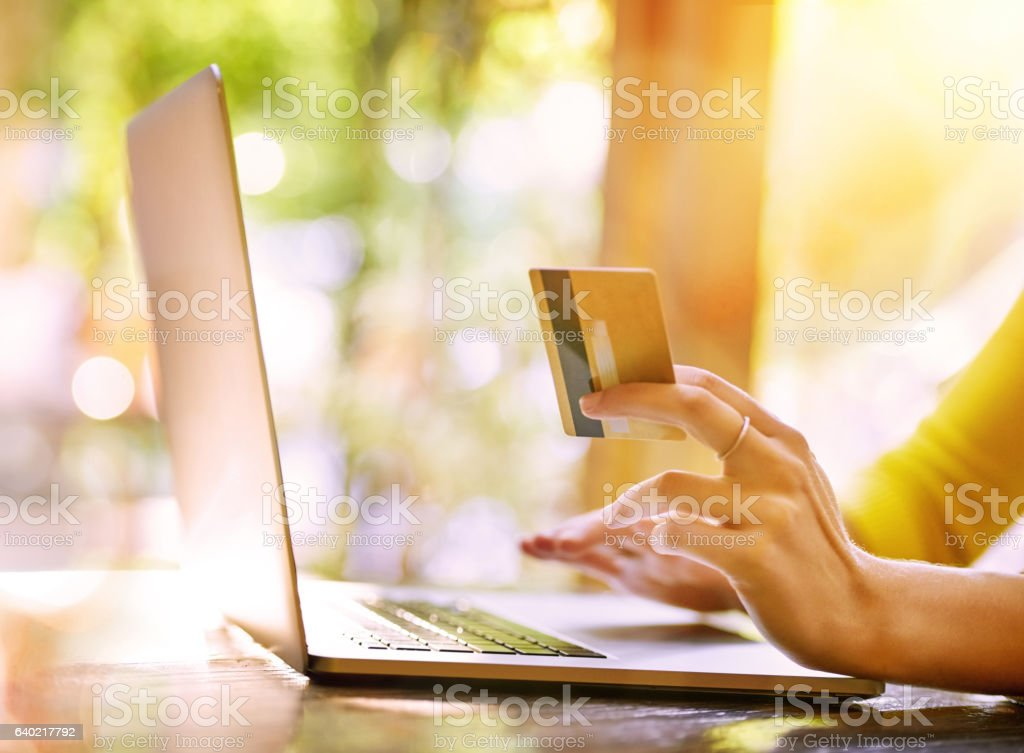 She finds the best deals when she shops online stock photo