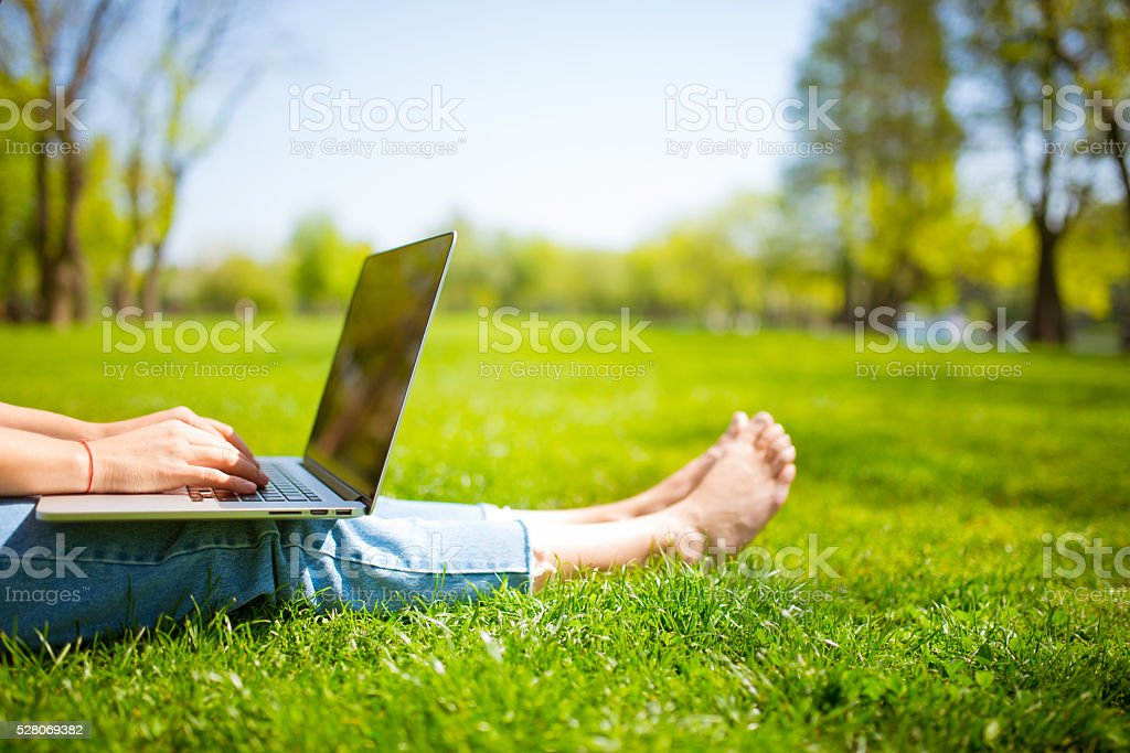 She found the perfect working environement stock photo