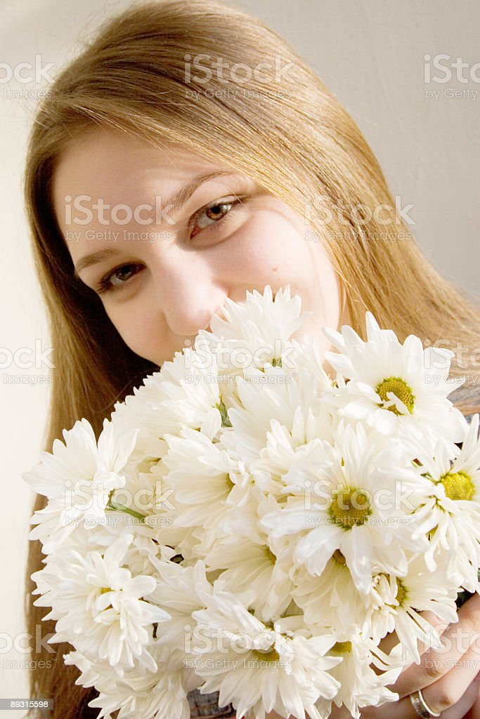 she got flowers! royalty-free stock photo