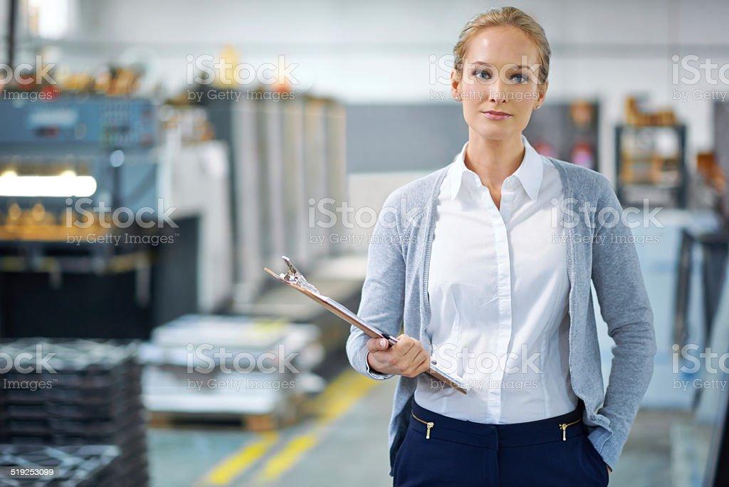 She guarantees quality stock photo