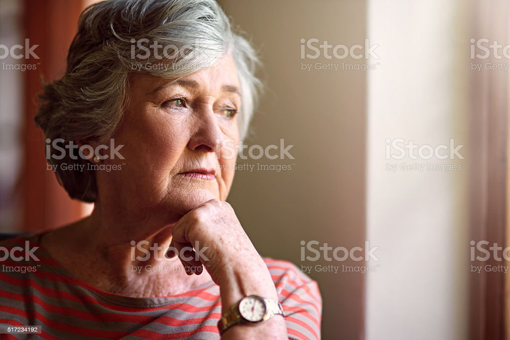 She has a lot on her mind stock photo