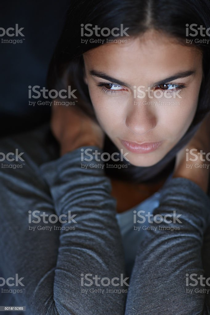 She has a lot on her mind today stock photo