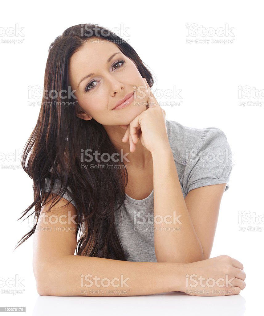 She has a quiet confidence in herself stock photo