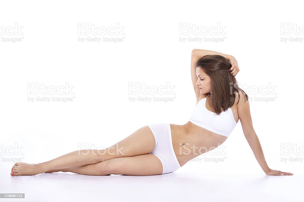 She has confidence in her curves stock photo