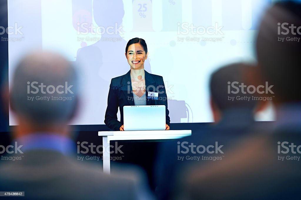 She has everyone's attention stock photo