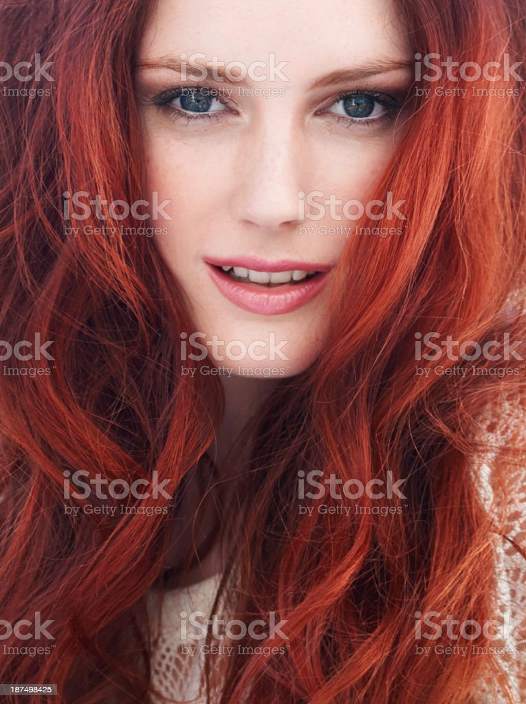 She has fire in her eyes stock photo