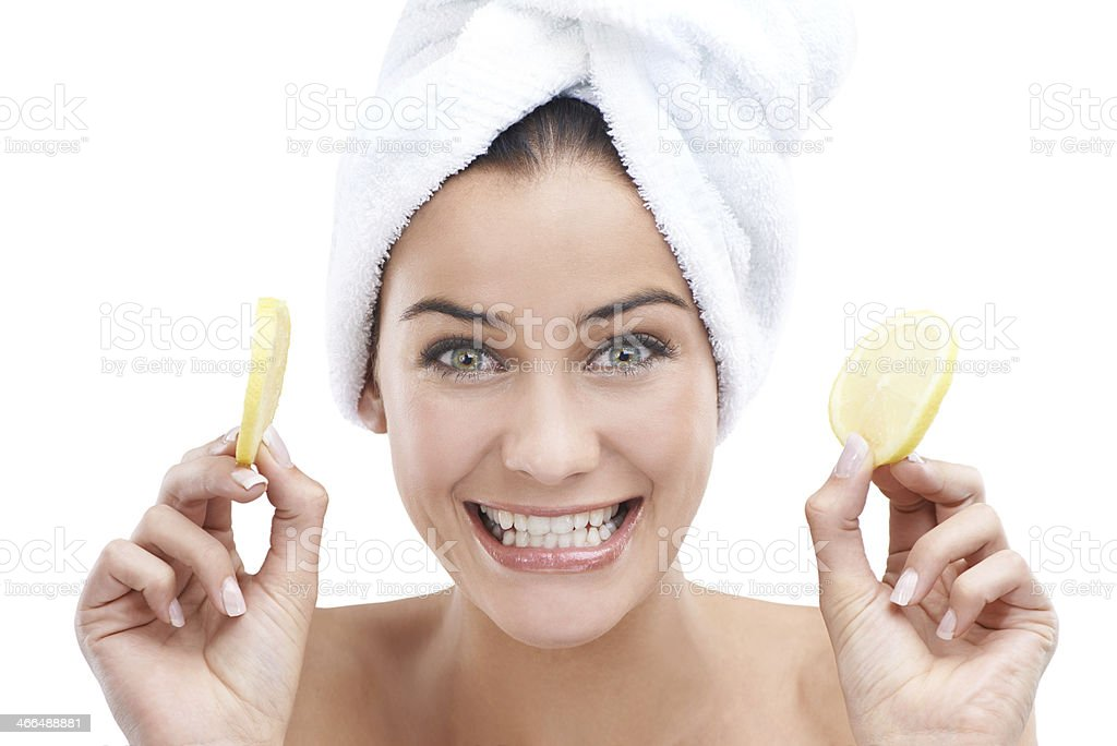 She has fun with her skin care routine royalty-free stock photo