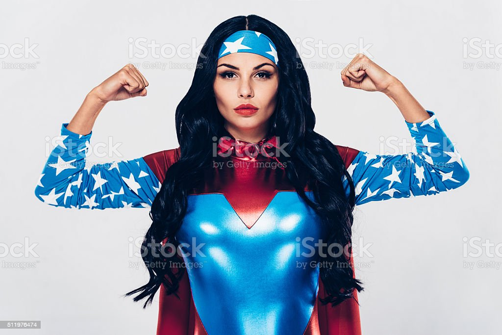She has plenty of strength. stock photo