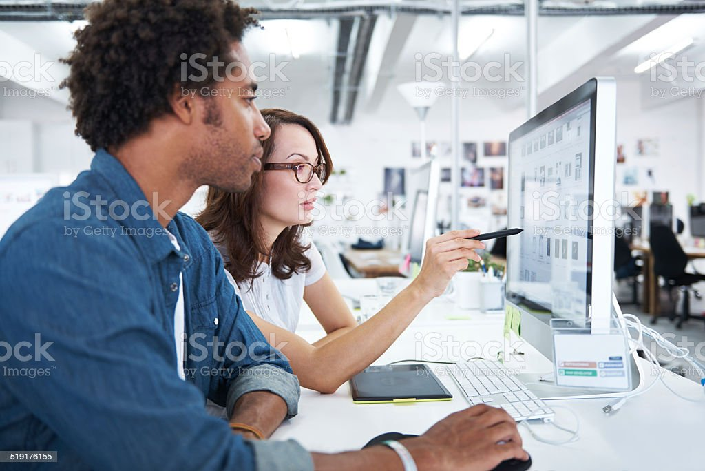 She has some great pointers for his work stock photo