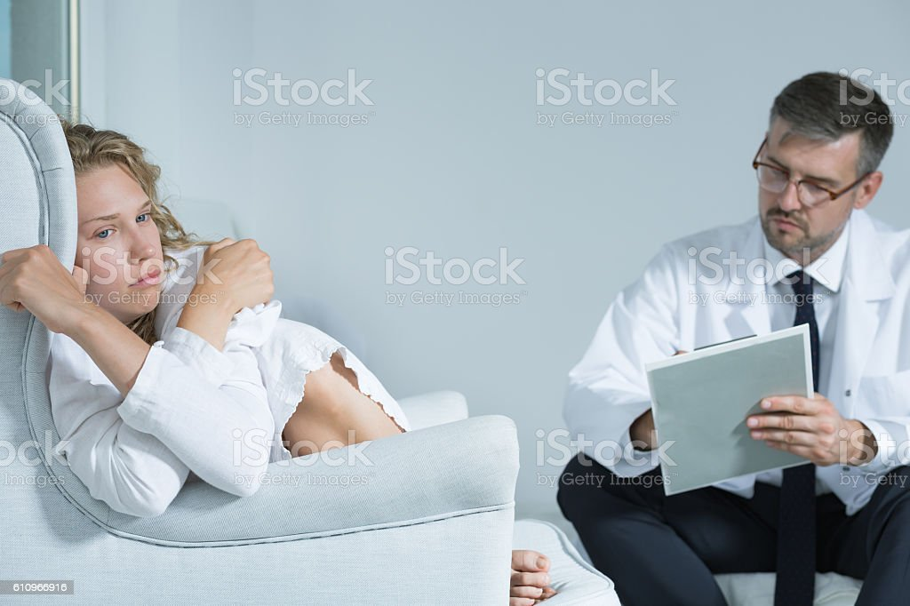 She has suffered from depression for years already stock photo