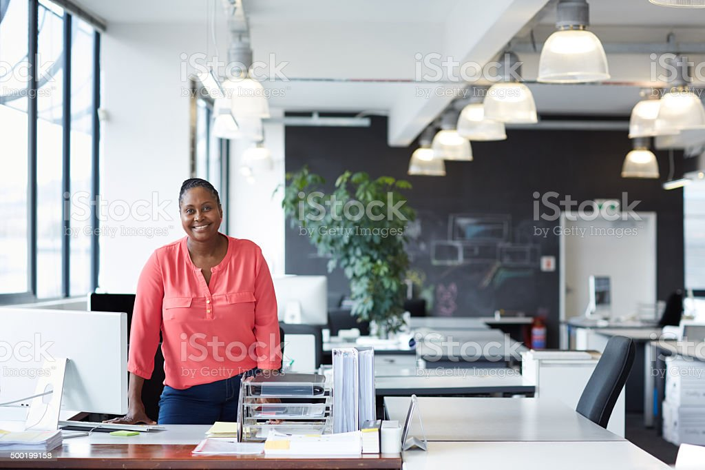 She heads up this office stock photo