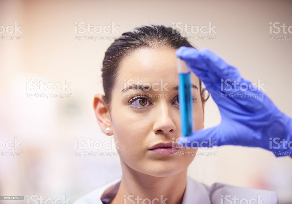 She holds the cure in her hands stock photo