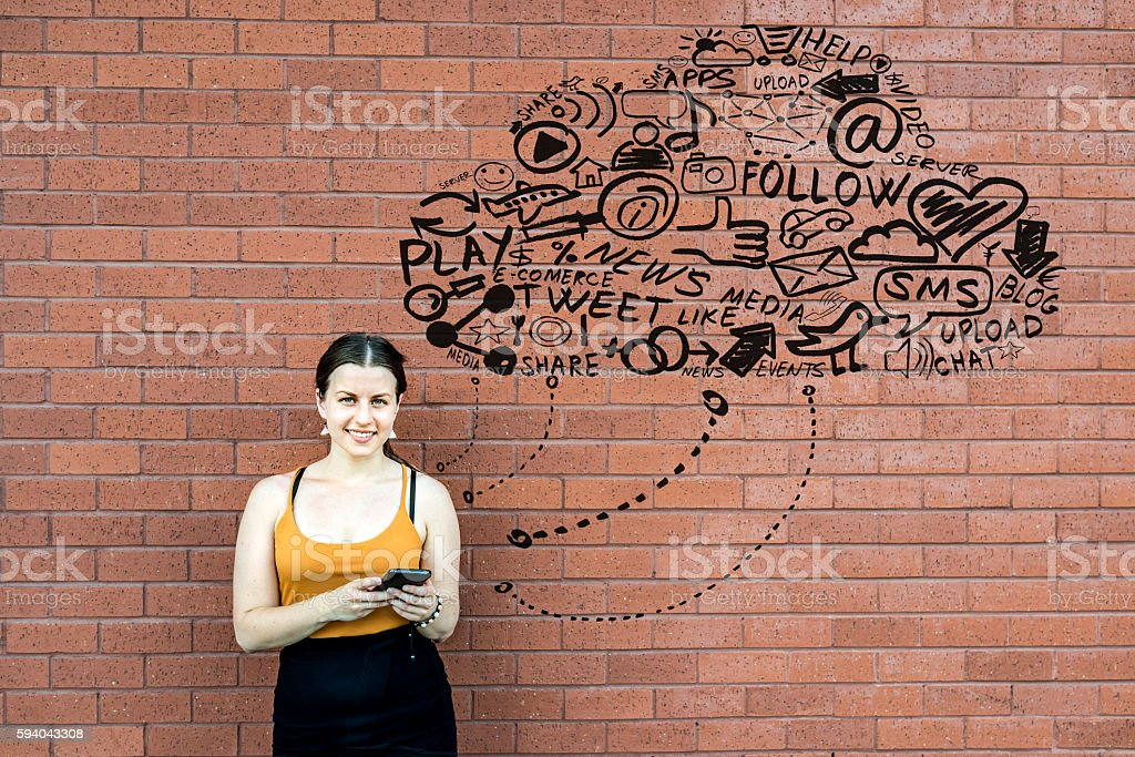 She is connected to the cloud stock photo