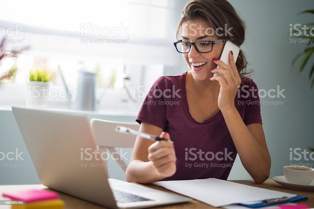 She is devoted to her career stock photo