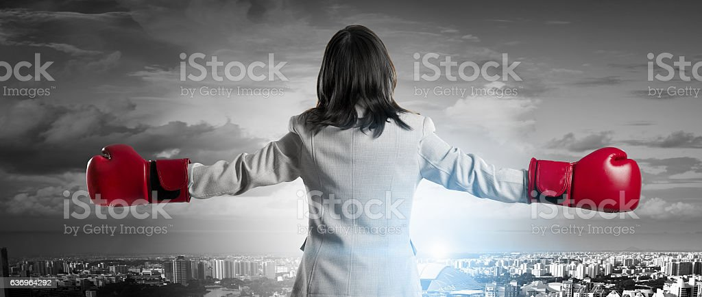 She is fighter for success . Mixed media stock photo
