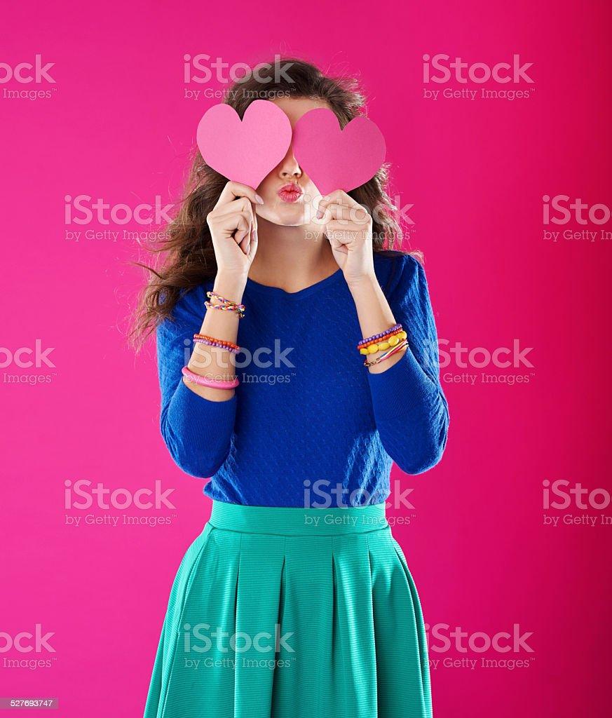 She is full of love stock photo