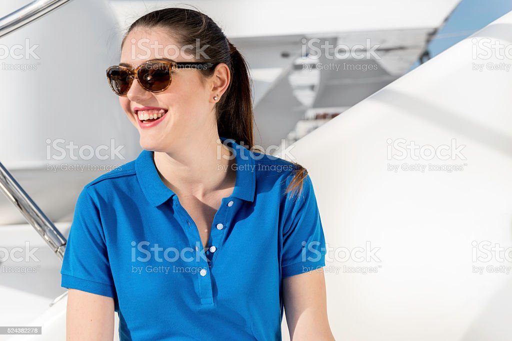 She is happy this way! stock photo