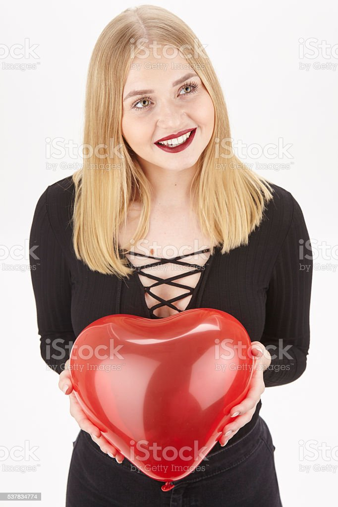 She is in love and she shows it stock photo