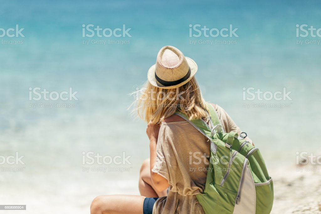 She is ready for the beach stock photo