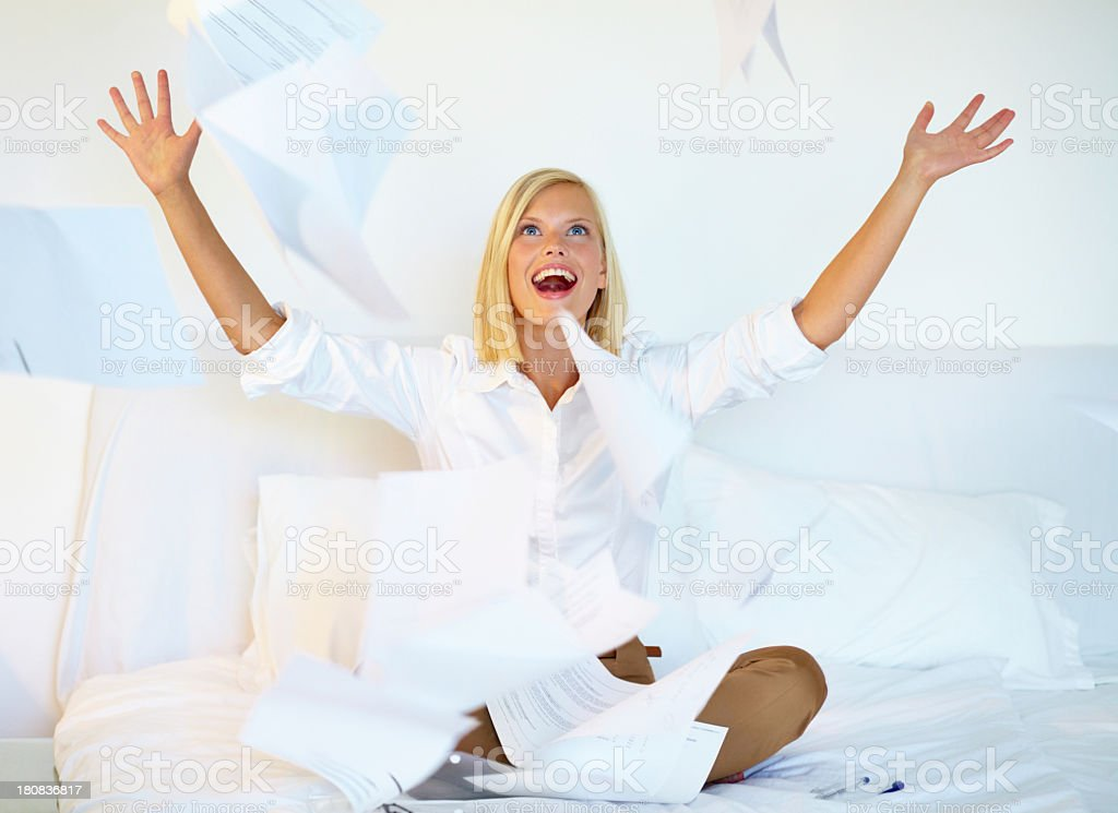 She just quit her job stock photo