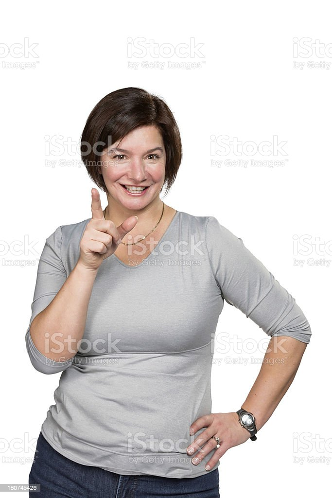 She just thought of the solution royalty-free stock photo